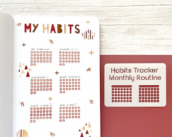 Journal box habits tracker stencil for Bullet journal and planner, Monthly routine stencil, Monthly layout stencil