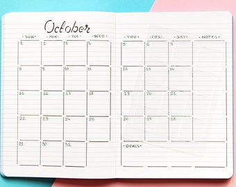 Monthly overview calendar stencil for Bullet journal and planner, Monthly layout stencil, Planner template stencil