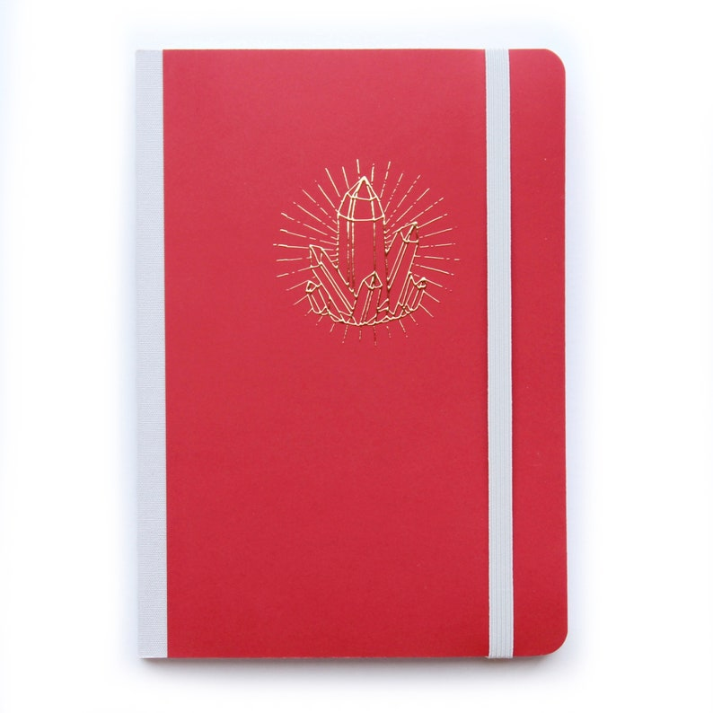 Bullet journal A5 dotted notebook Red soft cover notebook image 0