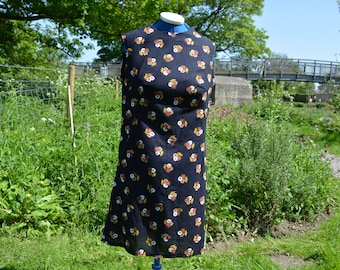 1960s Black Shift Dress Size 12 - Reproduction from Vintage fabric