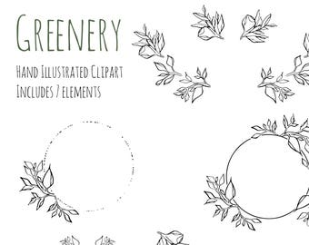 Clipart - Illustration - Greenery - wreath, frame and decorations
