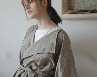 linen-silk COAT (short, midi, long / with pockets or without ) with belt, handmade from midi weight linen-silk blend in beige with stripes