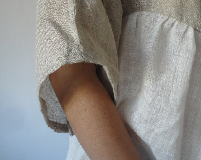 Featured listing image: linen gauze DRESS (summer, kimono sleeves) _ with raw or plain edge, hand made from very light linen gauze in different colors