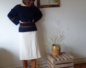 OUTFIT 10 // autumn 2020: heavy double gauze skirt + hand knitted sweater