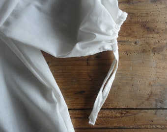 simple cotton peasant BLOUSE with ties and short, 3 / 4 or long sleeves, hand made from very light cotton in creme / can be also herbal dyed