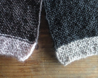 soft ramie-hemp-wool SCARVE, hand knitted from very soft ramie - hemp - wool yarn in black, aubergine or sand