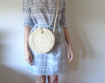 OUTFIT nr. 7 // spring-summer 2021: organic cotton plaid dress with belt and woven husk cross-body bag (size S)