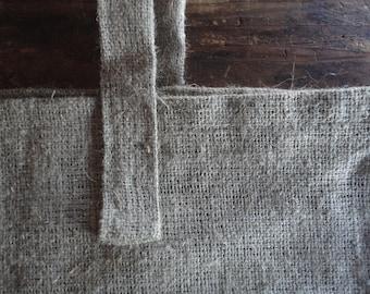 linen burlap SHOPPER / MARKET / SHOULDER bag, hand-made from very heavy and rough / raw linen burlap