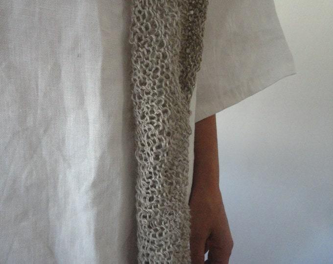 Featured listing image: OUTFIT nr. 49 // white linen short tunic dress with pockets and knitted linen shawl in natural color