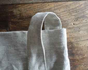 linen SHOULDER BAG, hand-made from midi-weight linen in natural or white