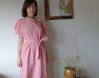 OUTFIT 5 // autumn 2020: simple double gauze dress with belt and v-neck