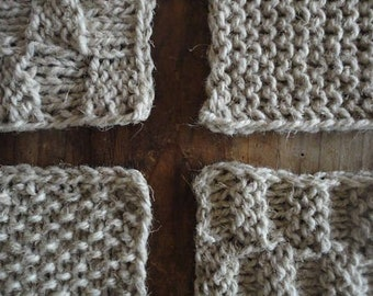 heavy wool RUG / BLANKET / THROW, hand knitted from rough hemp-wool yarn or natural wool in different colors