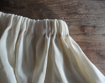 OUT of STOCK at the moment: light hemp-silk skirt (short, midi, long), handmade from slightly sheer and stiff fabric in beige / creme