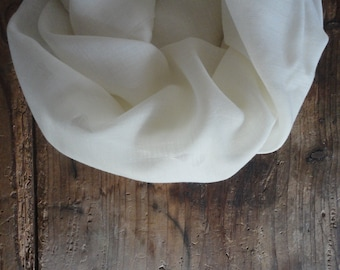 wool SHAWL / SCARVE, handmade from different qualities of natural wool fabric // gauze, satin, muslin, heavy