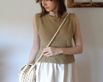 OUTFIT nr. 2-2 // spring-summer 2021: raw cotton skirt with knitted hemp top and woven husk hand bag or cross body bag (size S - M)