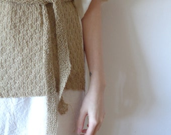 OUTFIT nr. 14 // spring-summer 2021: raw cotton dress with hand-knitted hemp vest with belt (size S - M)