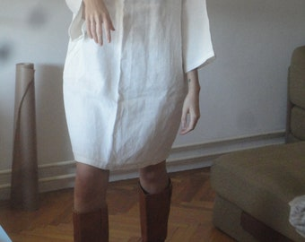 linen tunic DRESS (short, midi, long / with pockets or without ), handmade from natural or white linen in different qualities