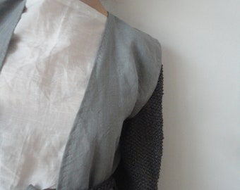 heavy linen VEST with pockets and tie belt or CARDIGAN with knitted sleeves, made from heavy linen and linen yarn in different colors