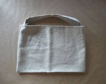 soft linen SHOULDER BAG, hand-made from heavy soft linen in natural color