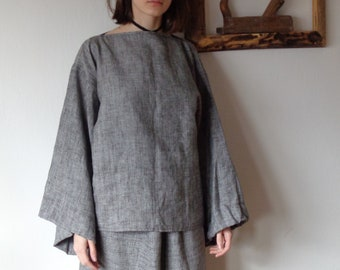 OUTFIT 9 // winter 2020: linen-wool skirt + linen-wool top (kimono or gathered sleeves) + wool-linen tote