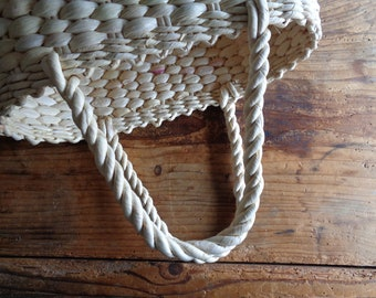handwoven MARKET / SHOPPING bag / basket with handles _ round, handmade from natural husk // eco, sustainable