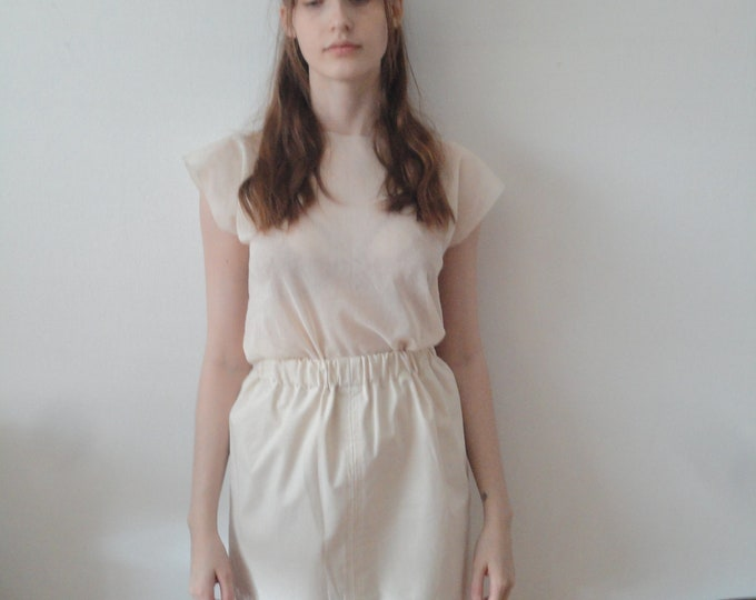 Featured listing image: OUTFIT nr. 15 // firm short raw cotton skirt with simple sheer cotton tee in natural / beige with small blue linen tote (SPRING/SUMMER 2019)