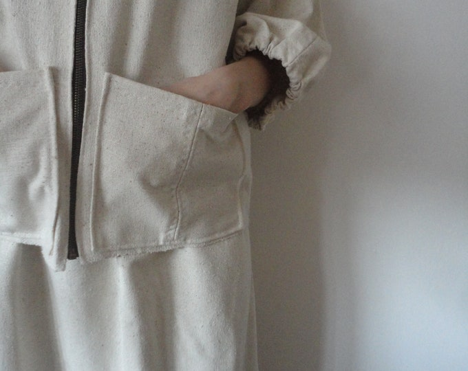 Featured listing image: raw / wild silk JACKET / COAT or VEST (with zipper and front or side pockets or without), handmade from rough wild / raw silk in off white