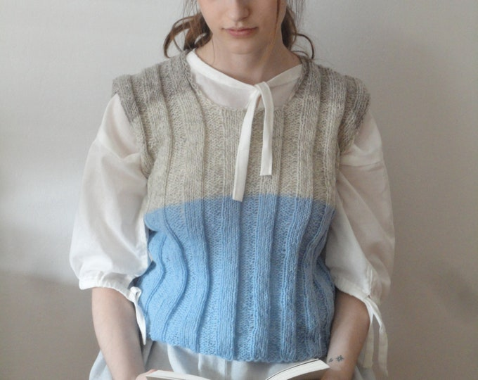 Featured listing image: OUTFIT nr. 8 // grey linen midi skirt, organic cotton peasant blouse with ties and blue / beige handknitted wool vest (SPRING / SUMMER 2019)