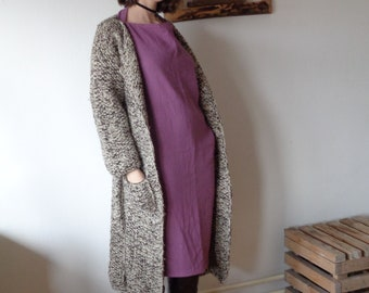 OUTFIT 5 // winter 2020: double gauze dress + wool-hemp knitted coat + wool beanie + linen shoulder bag