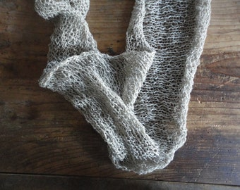 knitted linen SHAWL / SCARVE / WRAP, hand knitted from natural linen thread _ it can be made also as loop