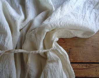 raw cotton gauze TOP / DRESS without sleeves and with tie, handmade from soft raw cotton gauze i off white