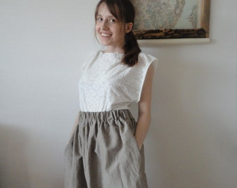 light linen-silk SKIRT (short, midi, long / with pockets or without ), handmade from midi weight linen-silk in greyish brown with stripes