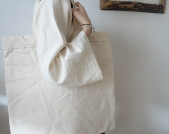 raw COTTON tote / shopper / market bag, hand-made from heavy and stiff off white cotton (slightly water resistant)