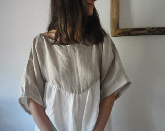 OUTFIT nr. 48 // linen gauze dress with kimono sleeves in natural and white