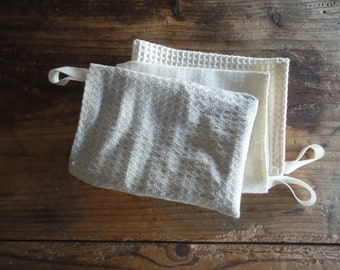 very soft WASH MITTENS / GLOVES, handmade from very soft organic cotton, hemp or linen pique / waffel fabrics