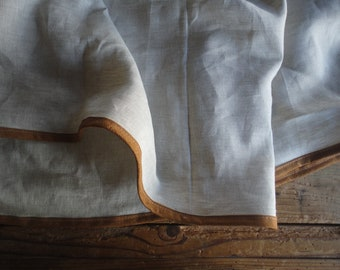 natural linen SKIRT (short, midi, long / with pockets or without ), handmade from midi weight in natural color with faux suede ending