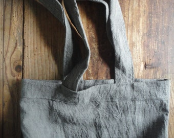 crinkled LINEN tote / market bag _ large, hand-made from midi weight crinkled / wrinkled linen in different colors