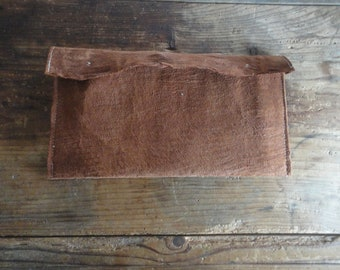 tree bark CLUTCH with raw cotton inlet, hand-made from natural tree bark / vegan leather