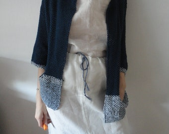 OUTFIT nr. 26 // silky ramie skirt with belt, ramie boat neck top (both in white) and knitted cotton cardigan in blue (SPRING/SUMMER 2019)