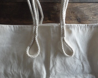 organic cotton TOTE / SHOPPER / MARKET / shopping bag with rope handles, hand-made from firm organic cotton canvas in different colors
