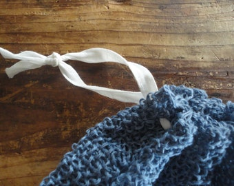 knitted LINEN pouch with ramie handle, hand knitted from natural linen (pouch) with handle made from silky white ramie