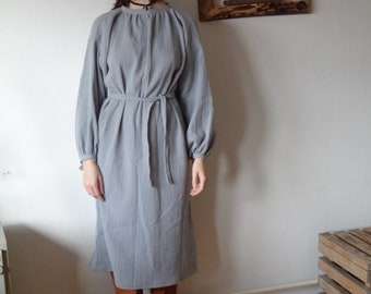 OUTFIT 6 // winter 2020: double gauze dress + linen tote