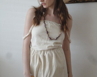 raw cotton TOP / DRESS with straps, hand made from raw cotton in different qualities (gauze, raw gauze or double gauze)