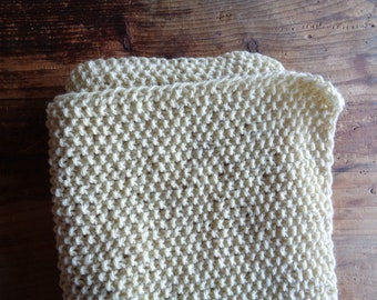 heavy wool RUG / BLANKET / THROW, hand knitted from natural wool in different colors // eco, sustainable