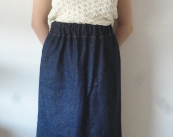 hemp denim SKIRT (short, midi, long) with raw or plain edge, handmade from very heavy and a bit stiff hemp denim