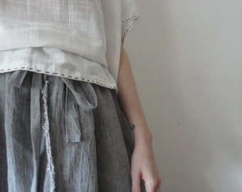 rich light linen SKIRT (short, midi, long) with ties, handmade from light linen in different colors