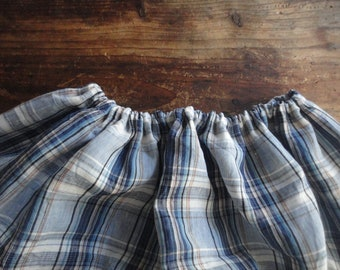 plaid linen SKIRT (short, midi, long / with pockets or without ), handmade from midi weight plaid linen in beige and blue
