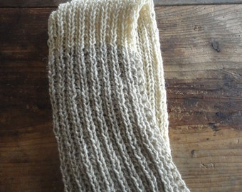 warm knitted SHAWL / SCARVE , handknitted from natural unprocessed wool in beige / creme