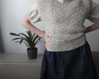 OUTFIT nr. 73 // hand knitted wool vest with pattern, linen baloon sleeve top and wide cotton denim skirt (SPRING 2020)