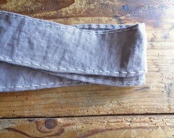 embroidered LINEN belt, hand-made from stonewashed linen and with cotton embroidery